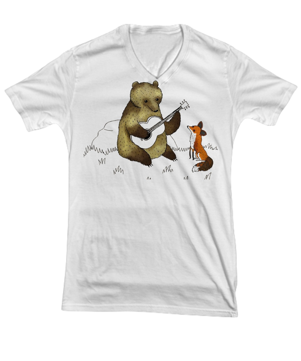 Bear with guitar and fox V-neck