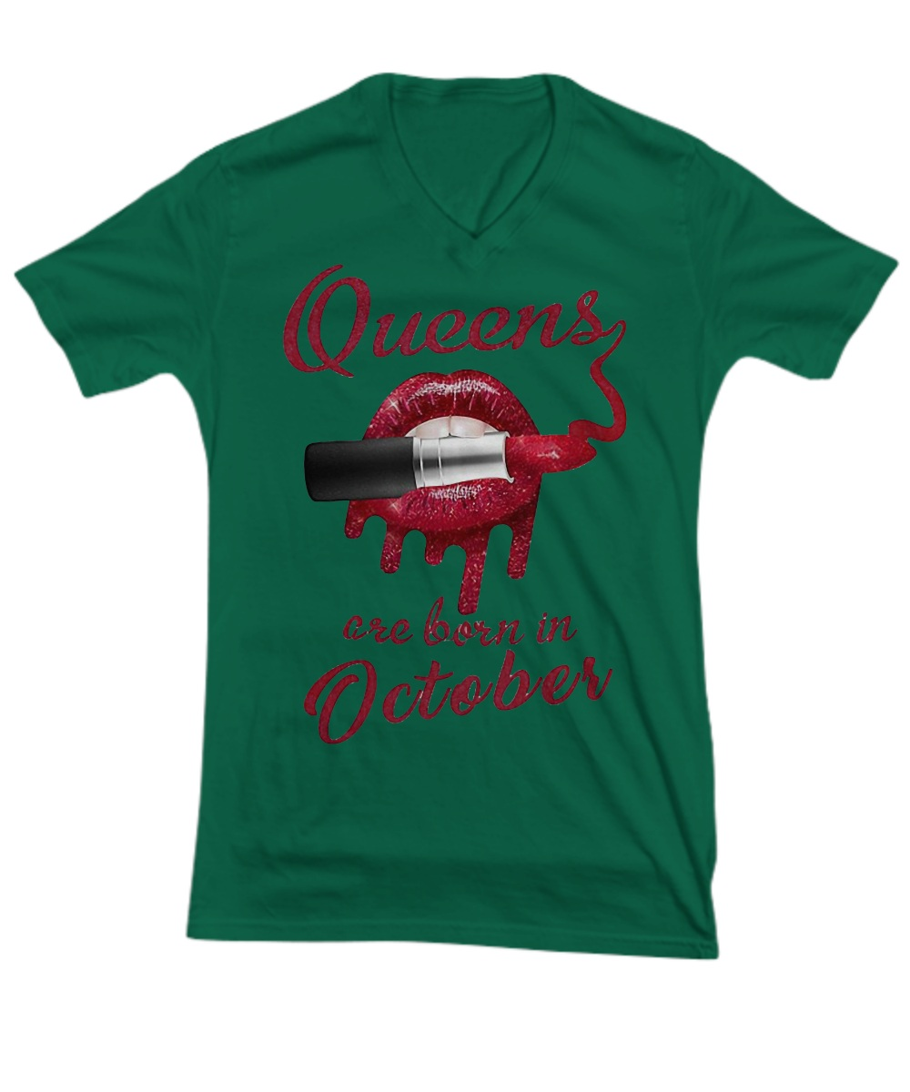 Red glitter and lipstick queens are born in Octorber V-Neck