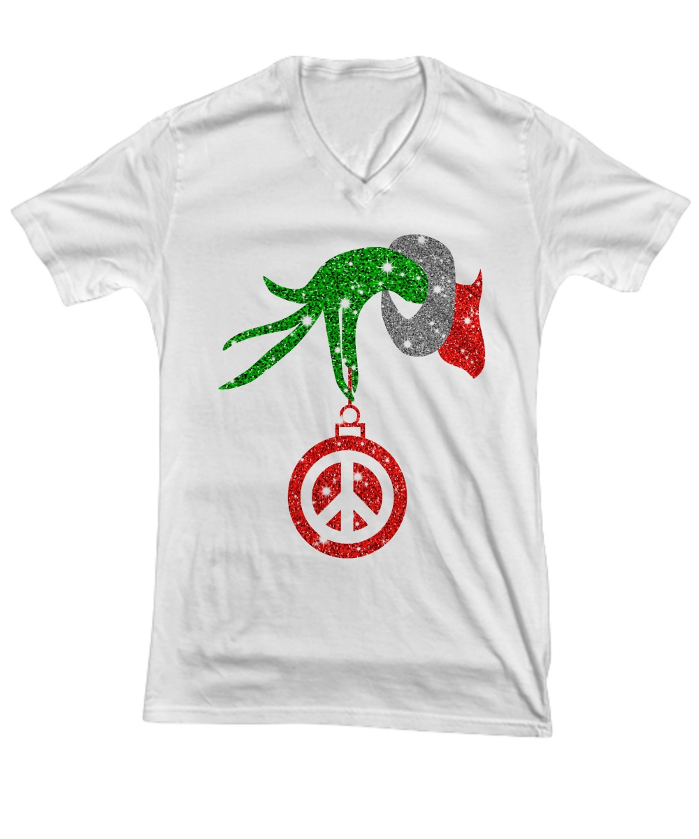 Grinch hand holding peace ornament Christmas v-neck