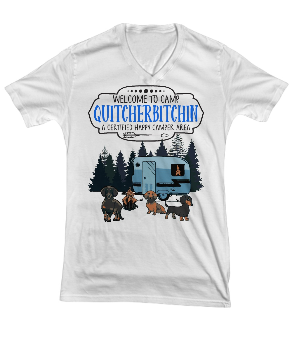 Welcome to camp quitcherbitchin a certified happy camper area V-neck
