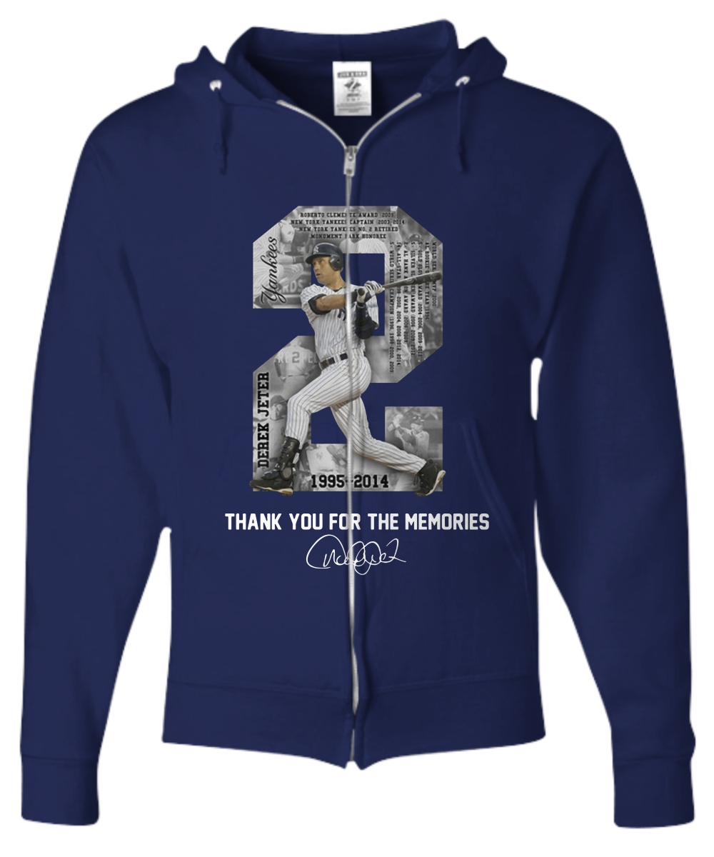 Derek Jeter MLB 1995 2014 Thank For The Memories Zip Hoodie
