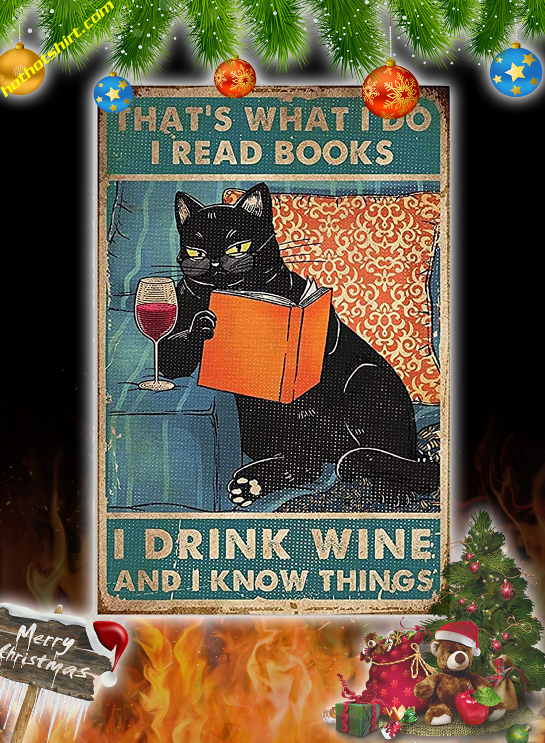 Cat That's what I do I read books i drink wine poster 1
