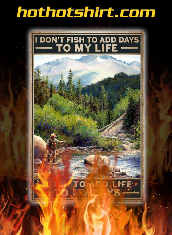 Fishing i don't fish to add days to my life poster