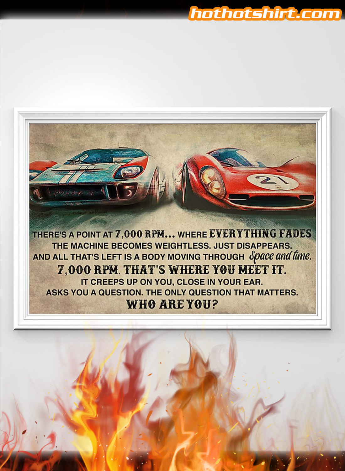 Car racing there's a point at 7000 RPM poster