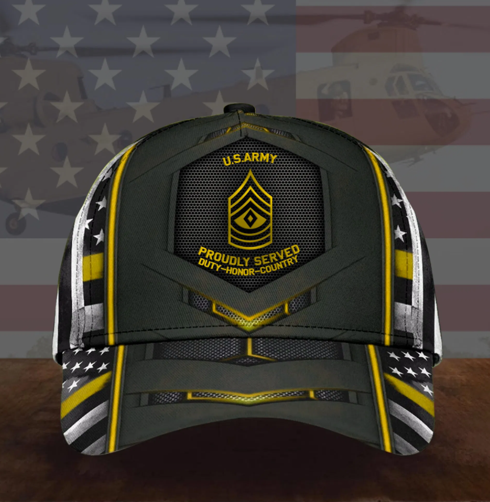 US army proudly served duty honor country cap