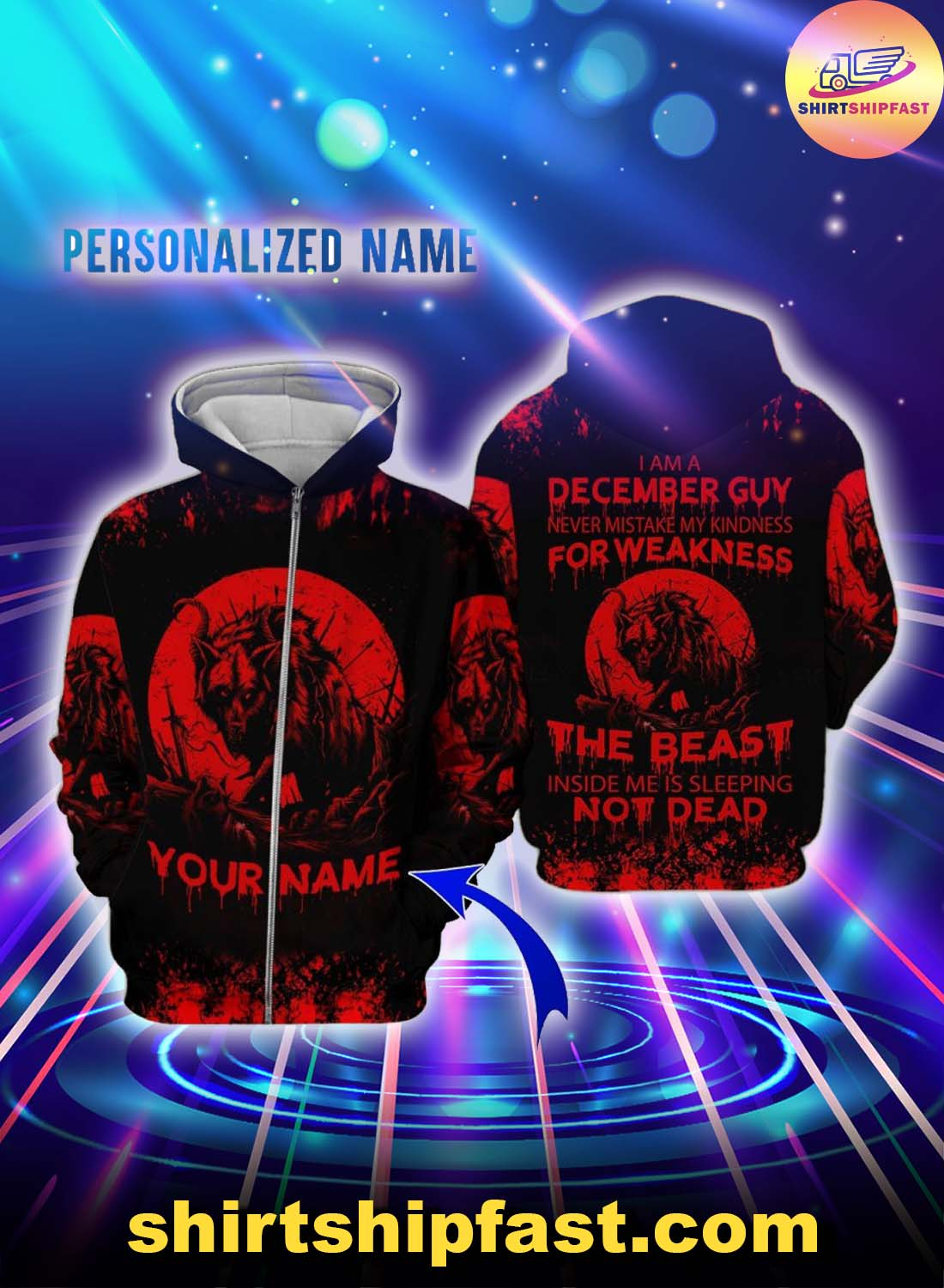 Personalized name December guy never mistake my kindness for weakness the beast 3d zip hoodie