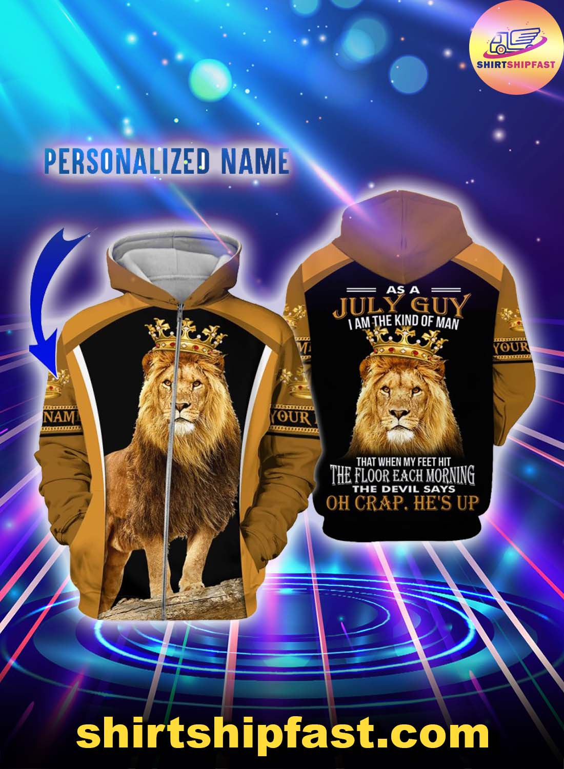 Personalized name July guy all over printed zip hoodie