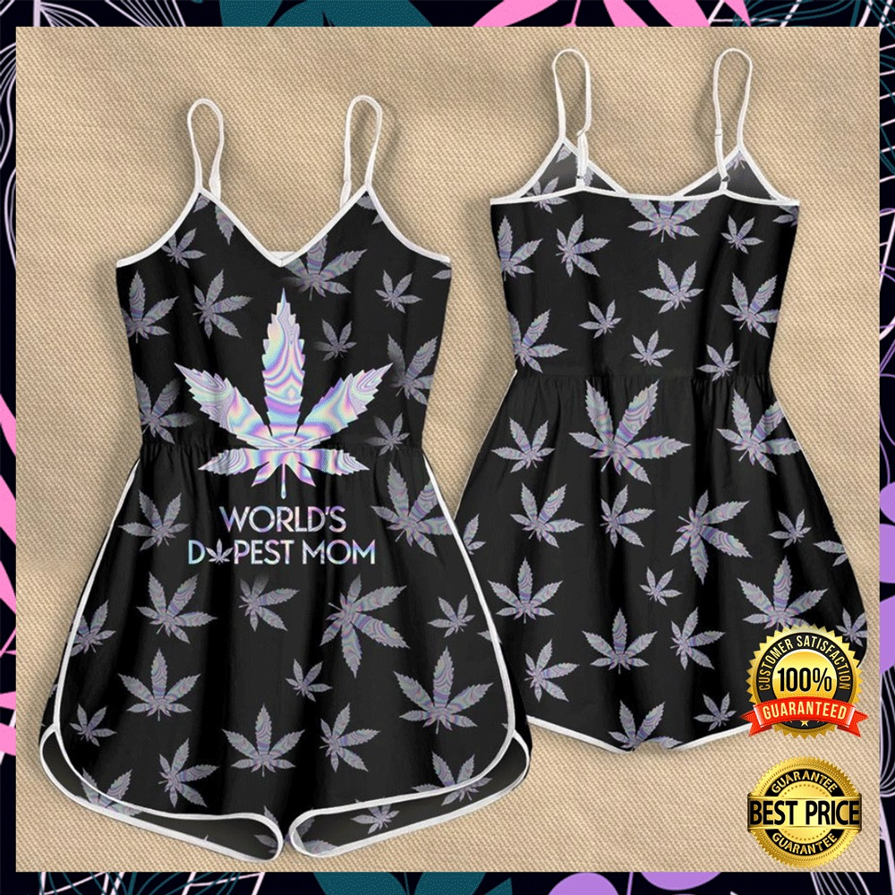 Weed worlds dopest mom romper1