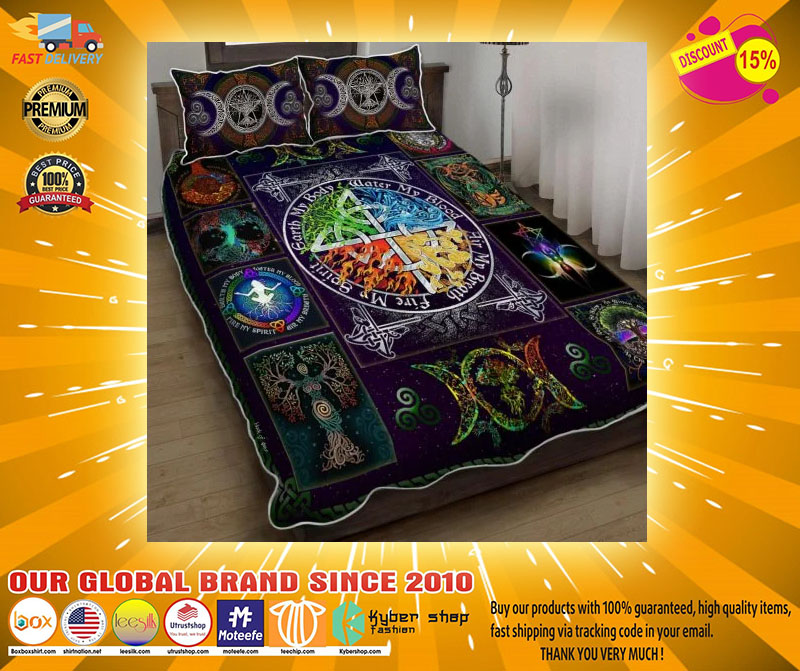 Wiccan witch pagan quilt bedding set