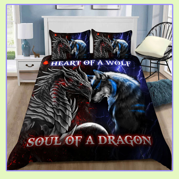 Heart of a wolf soul of a dragon bedding set1