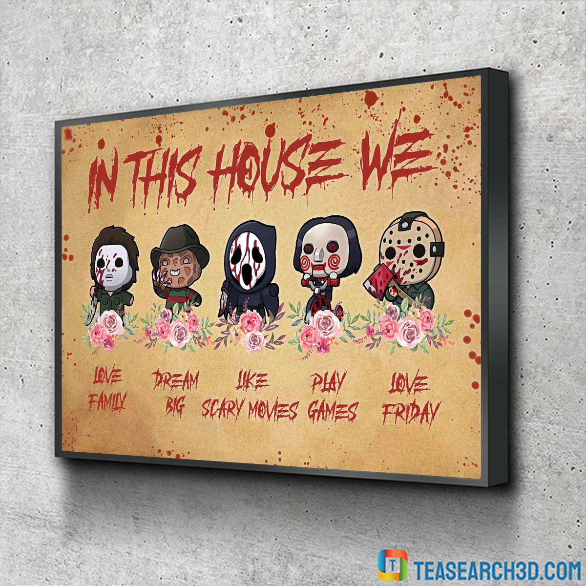 Horror movies in this house we love family canvas small