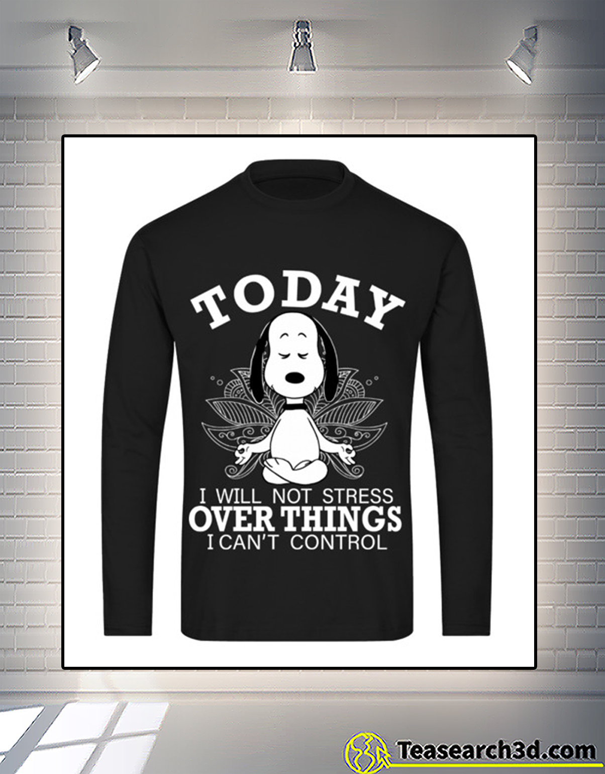 Snoopy today I will not stress over things I can't control long sleeve