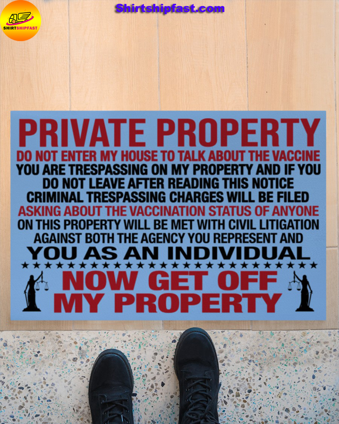 Private property do not enter my house to talk about the vaccine doormat - Picture 1