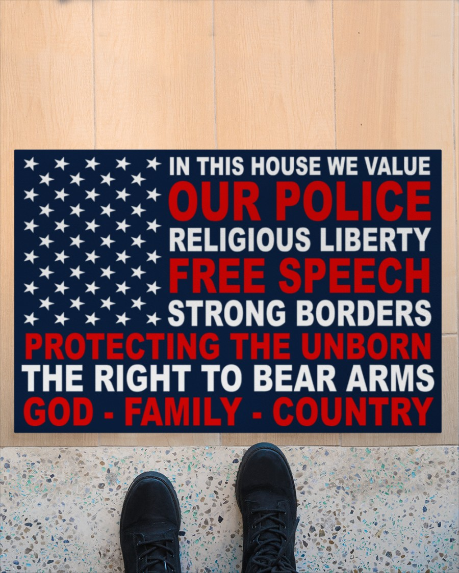 In this house we value our police religious liberty free speech doormat