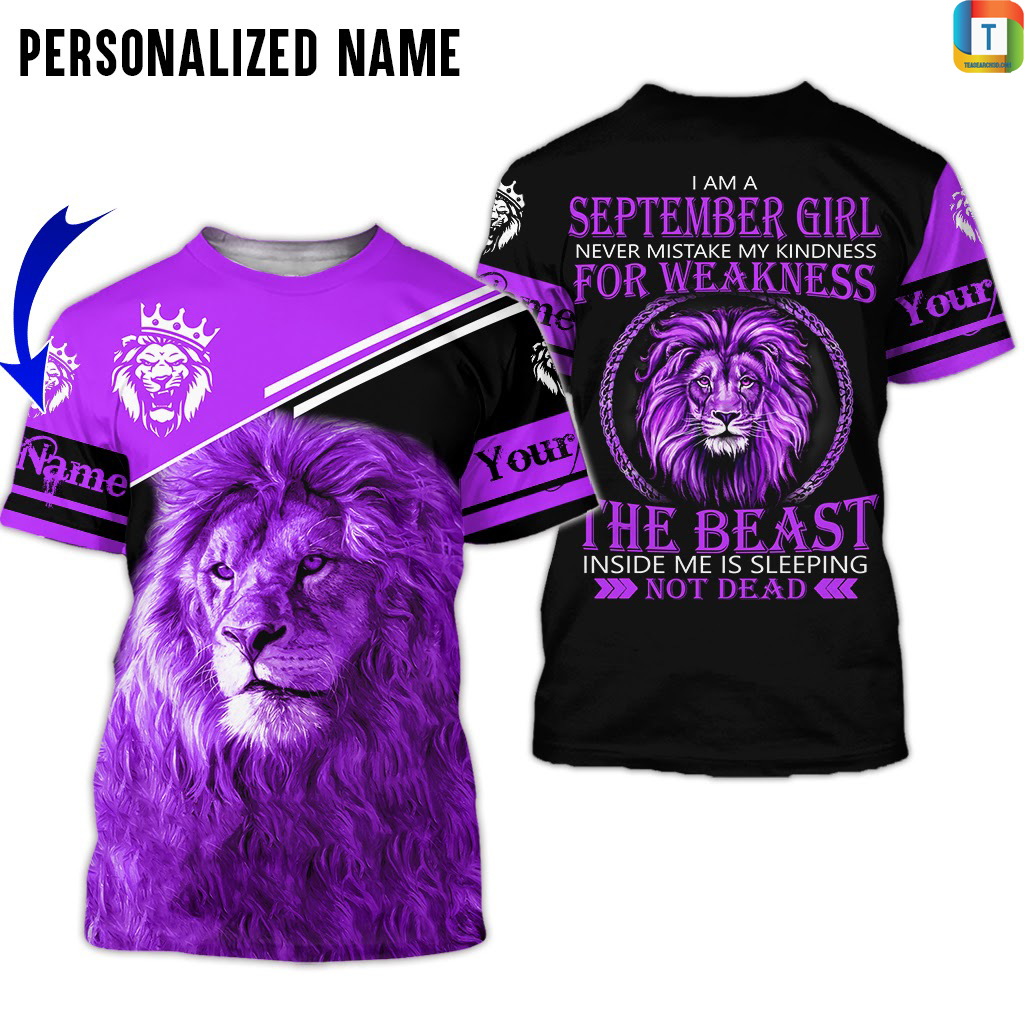 Personalized Name I Am A September Girl 3d all over printed shirt