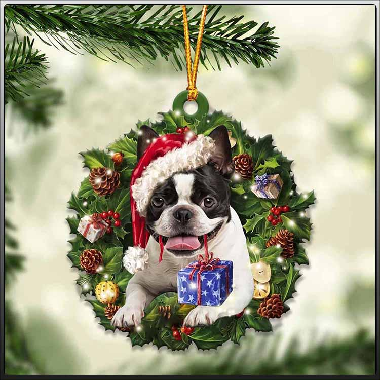Christmas Gift And Boston Terrier Ornament 2