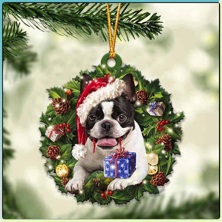 Christmas Gift And Boston Terrier Ornament 4