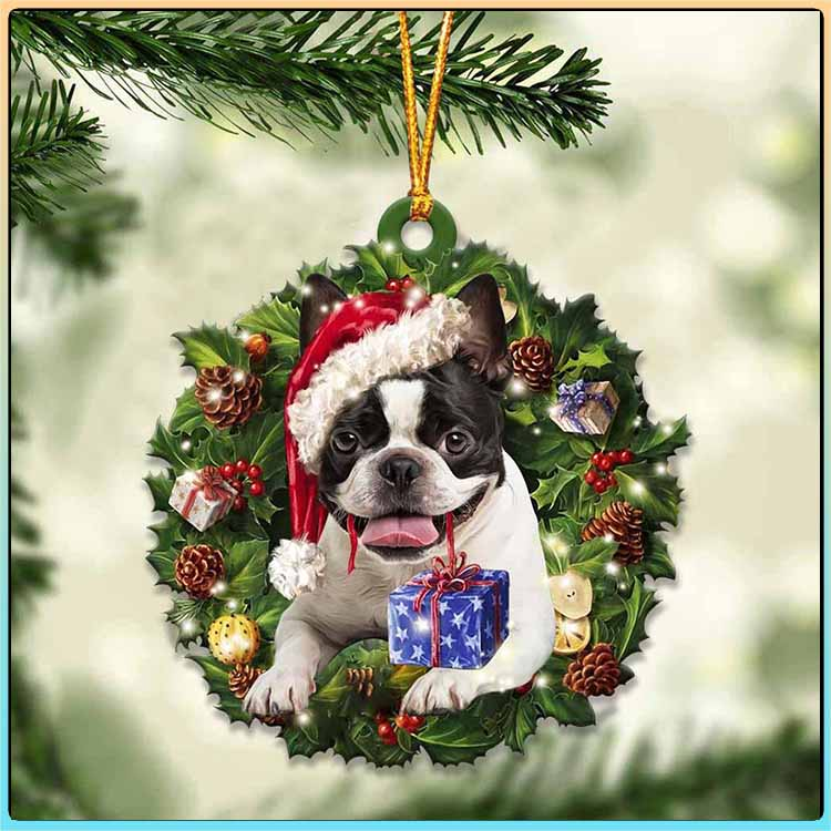 Christmas Gift And Boston Terrier Ornament 6